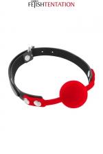 Baillon boule rouge - Fetish Tentation : Bâillon boule avec boule rouge en silicone offrant un maximum de confort et d'hygiène.