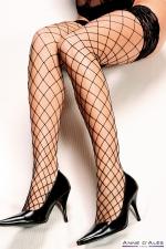 Bas autofixants Erica Noir - Anne d'Alès : Mettez en scène la beauté de vos jambes avec les bas Erica en filet noir, des bas autofixants créés par Anne d'Alès.