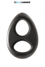 Double anneau de pénis - Blue Junker : Double anneau de pénis extensible, en silicone extra doux au toucher, pour serrer la verge et les testicules.