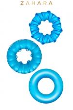 3 Cockrings Strech Rings bleu - Zahara : Set de 3 anneaux péniens extensibles en TPR permettant de stimuler les fonctions érectiles. Coloris bleu translucide.