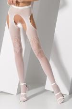 Collants ouverts S017 - Blanc : Collants ouverts en résille blanche fantaisie avec découpe porte-jarretelles sexy.