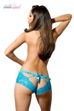 Culotte turquoise Abby - Anaïs : Jolie culotte colorée ouverte à l'arrière au tissu élastique fabriquée en Europe par Anaïs Lingerie.