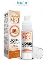 Lubrifiant Liquid Vibrator  Pêche 30ml - Amoreane Med : Gel lubrifiant médical à base d'eau avec effet vibrant, parfumé à la pêche, par Amoréane Med.