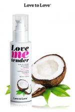Huile de massage Noix de coco 100ml : Huile de massage comestible goût noix de coco fabriquée en France par Love to Love.