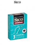 3 préservatifs Sico SPERMICIDE : 3 préservatifs haute qualité bénéficiant d'une protection supplémentaire grâce à un revêtement spermicide.