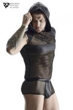 T-shirt à capuche wetlook et mesh - Regnes : T-shirt noir en mesh avec capuche et bandes larges en wetlook fabriqué en Europe par Regnes Fetish Planet.